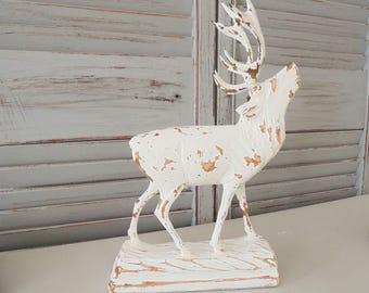 Elk deer Shabby Chic retro Hygge wood 60