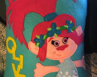 Poppy the troll pillow, poppy troll, pink poppy pillow, troll pillow, poppy decor,