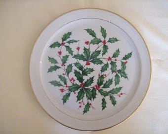 Lenox Holiday China Christmas Round Serving Platter. Vintage.