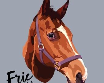 Sister Gift, pet portrait, custom pet print, horse portrait, horse print, pet print, custom pet print, pet art, horse art