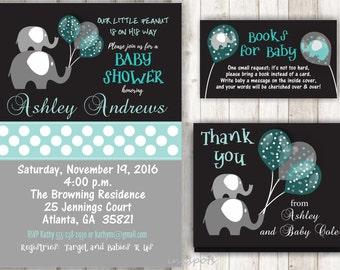 Boy Baby Shower Invitation Elephant Baby Shower Invitation Jungle Invitation Elephant Invitation Its a Boy Invitation Safari Invite BBEL01