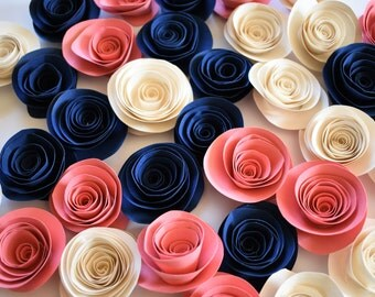 Navy and Coral Decor - Navy, Coral, and Ivory Loose Paper Flowers, Paper Roses