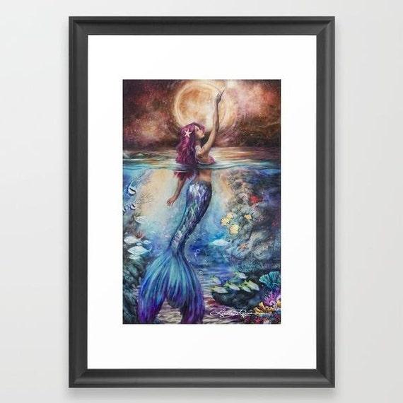 Moonlit Siren - Framed Paper Print