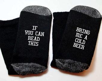 Mens Fun socks Bring me a cold beer.Birthday gift