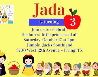 Snow White Invitations, Cute Snow White, Evil Queen, Disney Princess, 7 Dwarfs