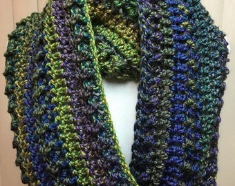 Blue and Green Scarf, Wide Scarf, Crochet Scarf, Chunky Scarf, Infinity Scarf, Blue Scarf, Crocheted Scarf, Winter Scarf, Gifts for Her