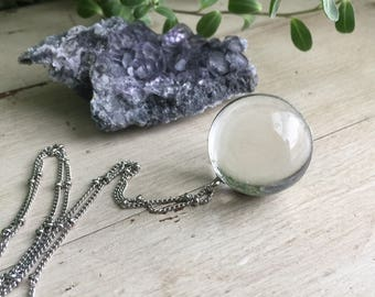 Crystal Ball Necklace - Orb Necklace - Marble Necklace - Soldered Pendant - Soldered Necklace - Glass Marble - Vintage Style