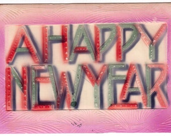 Antique 1910 heavily embossed a happy new year victorian postcard