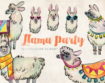 Watercolor Llama Clipart - INSTANT DOWNLOAD - High Res, PNG, Printable and Cute! For stationery, birthdays and baby showers