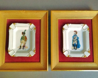 Vintage Framed Pair of Limoges Ash Trays with 17th Century French Soldiers