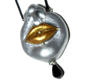Silver face necklace Piercing lips Polymer clay face Woman face necklace  Hand-sculpted necklace