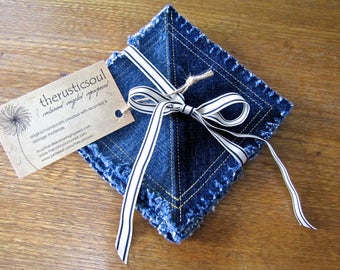 Square coasters made from recycled denim jeans, set of four