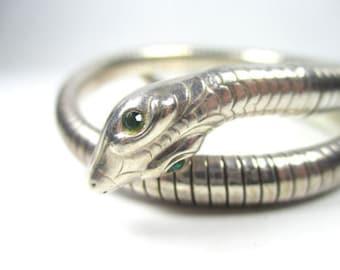 Snake bracelet sterling vintage bangle serpent green eyes