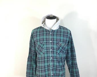 90's hooded plaid flannel shirt made in usa size small