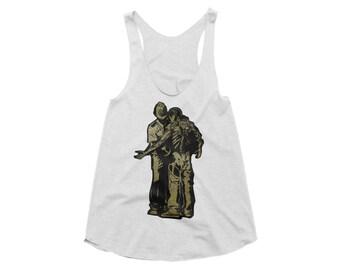 Activist Street Art Womens Tunic Vest Tank Top - Black/ White Organic Cotton Human Rights Street Art