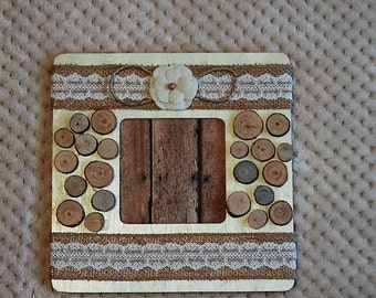 Rustic decorated picture frame - ready to ship