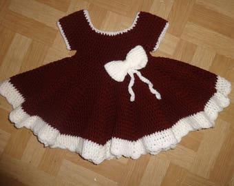 maroon baby girls crochet dress with bow 0-6 months