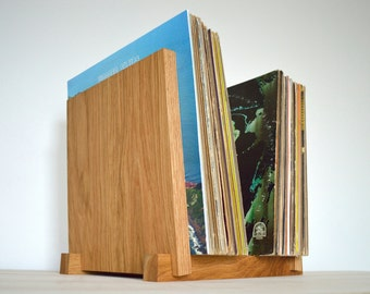 "White Oak Vinyl LP Record Storage Display | Holds 30, 40, 50 or 60 x 12"" Albums | Vinyl Storage"
