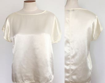 1980s cream satin oversized dolman boxy blouse / 80s top / minimalist capsule essential basic top / extra small XS S