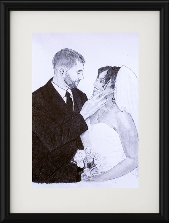 Personalised Wedding Gift Portrait : ... portrait - wedding gift - love gifts - gifts for her - custom gift