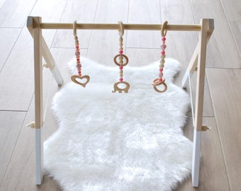 Wooden Gym With 3 Toys / Activity Center / Stylish and Natural Nursery Decor / Baby Activity Gym / Wooden Frame