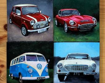 Custom Miniature Painting of your car, original oil painting/acrylic painting, Gift for him,  Car gift for men, Small art, car memorabilia