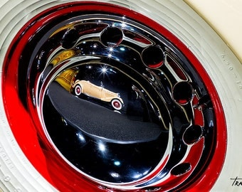 reflection in hubcap of ford roadster vintage old car photo rumble seat
