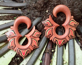 Gauge earrings, patra bali, 0g earrings, 0g plugs, 00g plugs, wood earrings, handpainted jewelry, ear gauges, plug earrings, tribal gauges