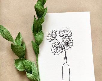 Peony Bouquet Drawing
