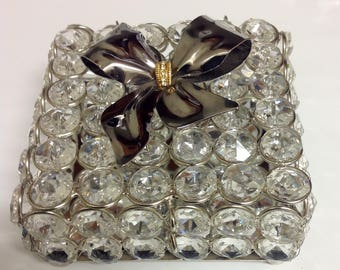 Crystal Gift Box with Vintage Bow Brooch Accent | Mirrored Memento Box | Keepsake Crystal Box | 'Will You Be My' Box