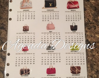 GM/A5 LV bags Year @ a Glance Calendar mm & pm available as well
