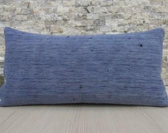 Naturel Cotton Turkish Kilim Rug Lumbar pillow 12 x 24 Decorative Floor Lumbar Accent Pillow Bohemian Pillow Anatolian Nomadic Couch Pillow