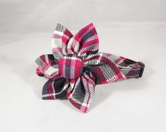 Plaid Cat Collar, Kitten Collar, Breakaway Cat Collar, Hot Pink cat collar, gray cat collar, bell & collar flower or Bowtie included