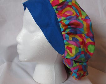 Women's Bouffant Scrub Hat Multicolor Circles with Royal Blue