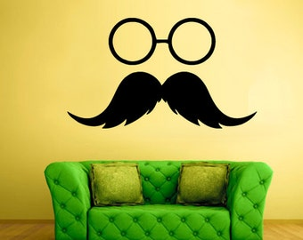 rvz1995 Wall Vinyl Decal Sticker Decals Hipster Glasses Frames Sunglasses Mustache