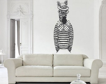 rvz2662 Wall Decal Decal Sticker Fashion Animal Zebra Horse Glasses Glasses Hipster