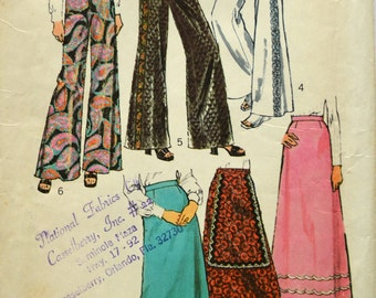 Uncut 1970s Simplicity Vintage Sewing Pattern 5361, Size 20; Misses' Pants and Skirt