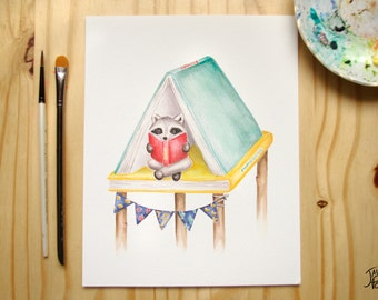 Displays raccoon reader and cabin books - original watercolor illustration print - 8 x 10 perfect for the reading corner