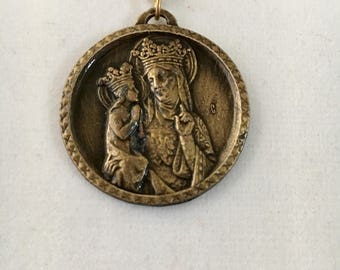 "Vintage Saint Anne medallion, St Anne de Beaupre religious pendant, 1 1/4"" pendant, antique bronze finish with 24"" link chain"