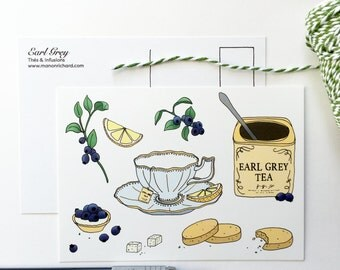 Map postcard Earl Grey tea (5pcs set)