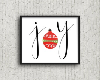 JOY, Instant Download, Wall Art Print, Christmas Decorations, Christmas Decor, Christmas Printable, Modern Home Decor, Typography Poster