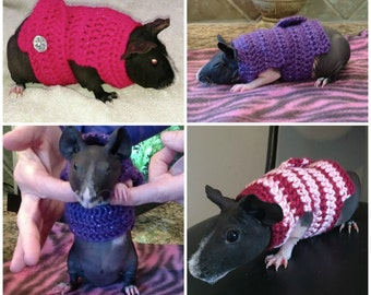 Guinea Pig Sweater, Skinny Pig Sweater, Guinea Pig Clothes, Small Pet Clothes, Cavy Accessories, Hairless Guinea Pig, Crochet Pet Sweater