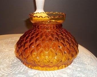 Fenton Glass Amber Student Desk Lamp Shade Diamond Quilted Pattern 7 inch Amber Glass Fenton