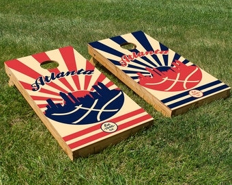 Atlanta Basketball Cornhole Board Set with Bean Bags
