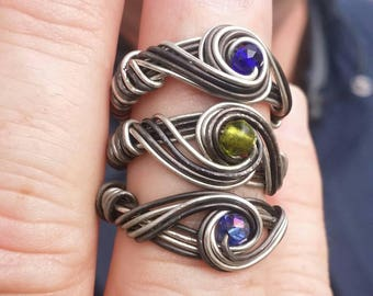 Infinity ring infinity gem stone ring wire wrap ring solitaire ring statement ring silver wire ring silver infinity ring liveartstudios
