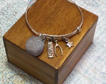 WISH Geode Nodule Cluster - Inspirational Adjustable Bracelet