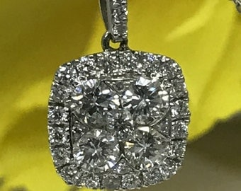 Diamond Pendant 14K White gold with 18 inch 14K White gold Chain #3886