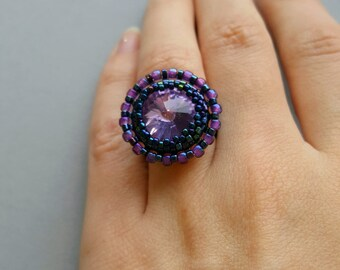 Handmade ring, peyote stitch ring, beaded ring, Miyuki ring,  Gift for her, seed bead jewelry,  flat band ring, band ring