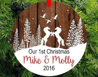 Horse Ornament | Our First Christmas as Mr & Mrs Ornament | Wedding Gift | Stallion And Mare Holiday Ornament | 1st Christmas Gift | OHW1