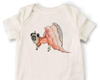 Pug Onesie, Dog Onesie, Organic Cotton Baby Onesie, Handmade Onesie, Baby Onesie